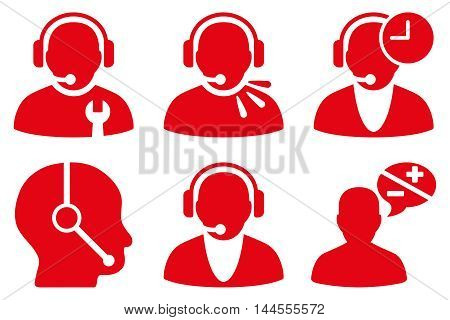 Call Center Operator vector icons. Pictogram style is red flat icons with rounded angles on a white background.
