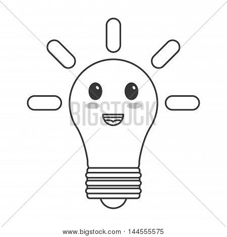 flat design kawaii lightbulb icon vector illustration
