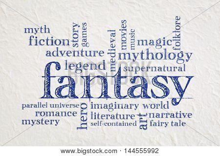 fantasy word cloud - handwriting on a white lokta paper
