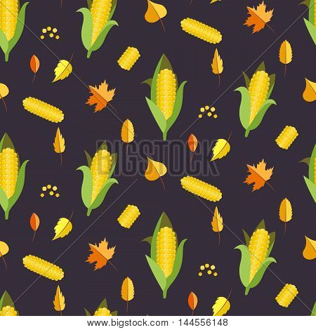 Corn seamless pattern vector illustration. Maize ear or cob autumn purple background. Yellow sweetcorn and seeds.