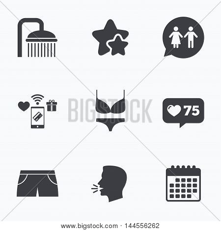 Swimming pool icons. Shower water drops and swimwear symbols. WC Toilet speech bubble sign. Trunks and women underwear. Flat talking head, calendar icons. Stars, like counter icons. Vector