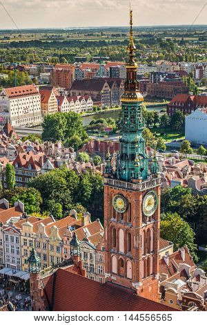 Gdansk Poland- September 192015:Old Town in Gdansk aerial view from cathedral tower Poland