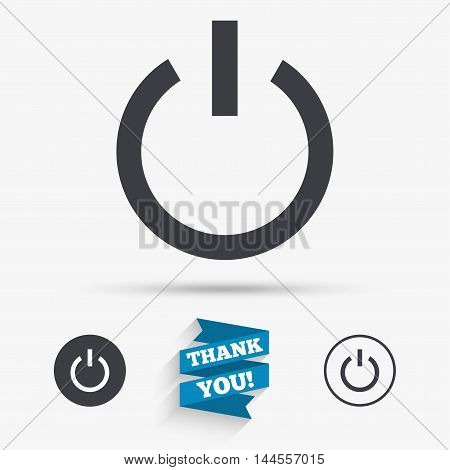 Power sign icon. Switch on symbol. Turn on energy. Flat icons. Buttons with icons. Thank you ribbon. Vector