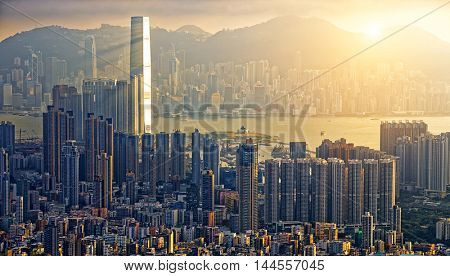 Hong Kong Sunset Victoria Habour View Concept