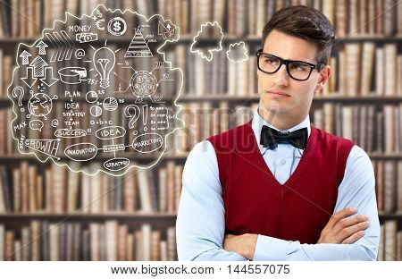young student thinking about strategy