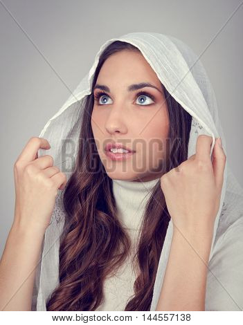 christian young  woman with hoodie praying