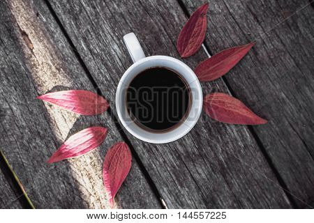 Coffee cup on green leaves background Flat lay.