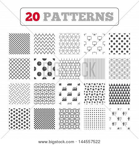 Ornament patterns, diagonal stripes and stars. Diagram graph Pie chart icon. Presentation billboard symbol. Man standing with pointer sign. Geometric textures. Vector