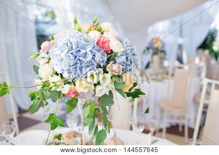 Fresh Floral Composition On The Holiday Table. Beautifully Organized Event - Served Banquet Tables R