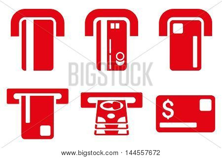 Payment Terminal vector icons. Pictogram style is red flat icons with rounded angles on a white background.