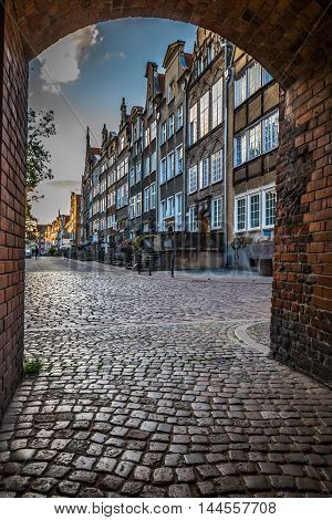 GdanskPoland-September 192015:beautiful architecture of the old town of Gdansk Poland.