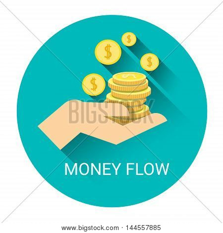 Money Flow Business Economy Icon Flat Vector Illustration