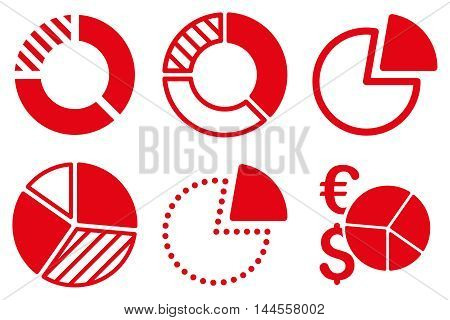 Pie Chart vector icons. Pictogram style is red flat icons with rounded angles on a white background.