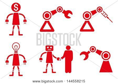 Robot vector icons. Pictogram style is red flat icons with rounded angles on a white background.