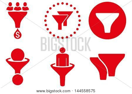 Sales Filter vector icons. Pictogram style is red flat icons with rounded angles on a white background.
