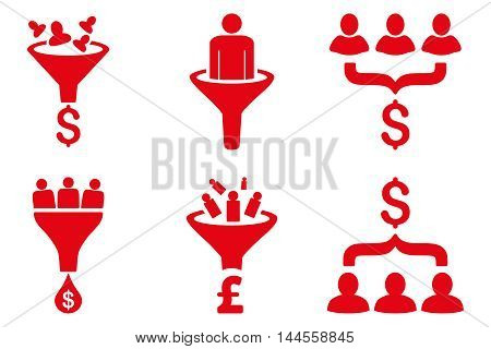 Sales Funnel vector icons. Pictogram style is red flat icons with rounded angles on a white background.