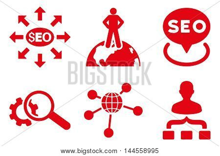 Seo Marketing vector icons. Pictogram style is red flat icons with rounded angles on a white background.