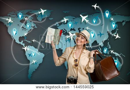 Female tourist with world map and illustrated airplane on background. Elements of this image are furnished by NASA