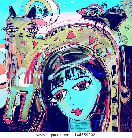abstract digital painting of girl with a cat and bird on a head, colorful composition in contemporary modern art, perfect for interior design, page decoration, web and other, vector illustration