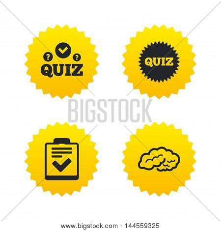 Quiz icons. Human brain think. Checklist symbol. Survey poll or questionnaire feedback form. Questions and answers game sign. Yellow stars labels with flat icons. Vector