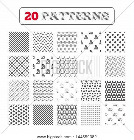 Ornament patterns, diagonal stripes and stars. Quiz icons. Human brain think. Checklist and stopwatch timer symbol. Survey poll or questionnaire feedback form sign. Geometric textures. Vector