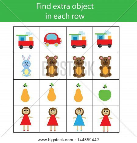 Find extra object in row. Educational children game. Logic activity for pre school age kids