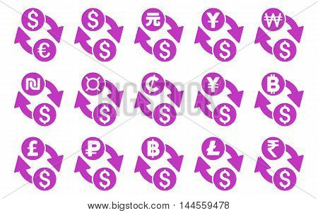 All Currency Exchange vector icons. Pictogram style is violet flat icons with rounded angles on a white background.