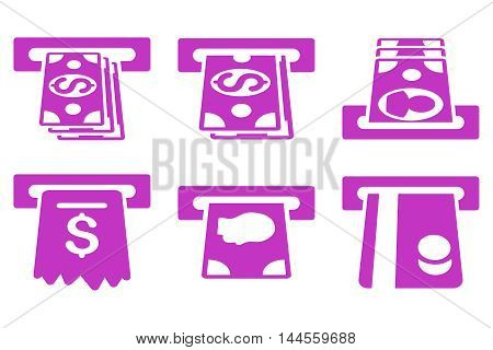 ATM Cashpoint vector icons. Pictogram style is violet flat icons with rounded angles on a white background.