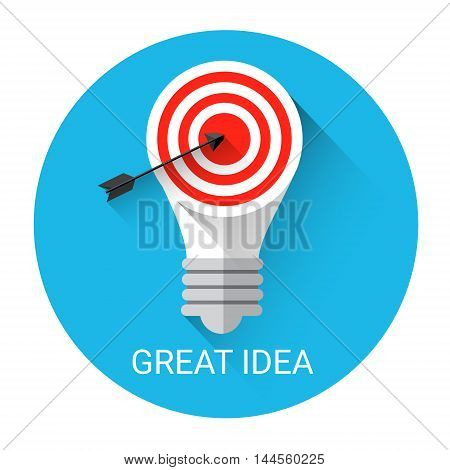 Great Business Idea Light Bulb With Target Icon Flat Vector Illustration