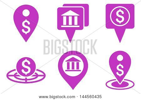 Bank Location vector icons. Pictogram style is violet flat icons with rounded angles on a white background.