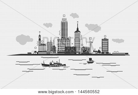 Outline panorama of a metropolis or city with sea or river, ships in front. Silhouette cityscape with clouds and trees, bus and crane, man near lamp on bus stop and skyscrapers.
