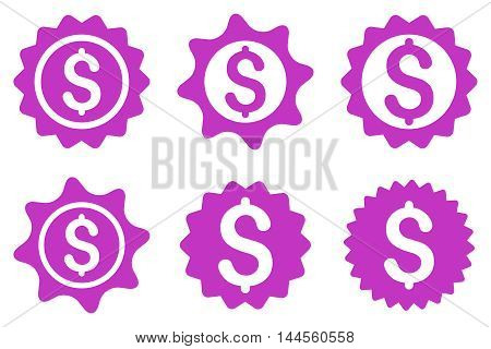 Bank Seal vector icons. Pictogram style is violet flat icons with rounded angles on a white background.