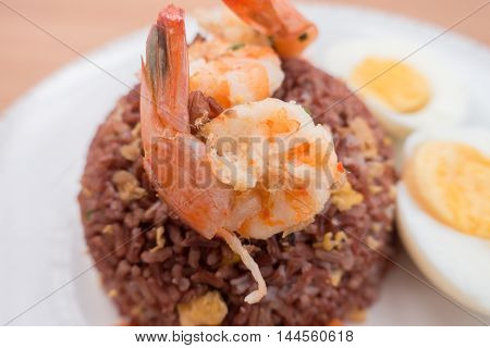 Fired brown rice with shrimp carrot and boiled egg healthy clean food none oil added low fat