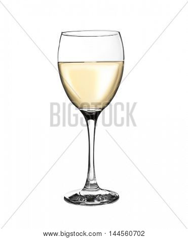 Glass with wine, isolated on white