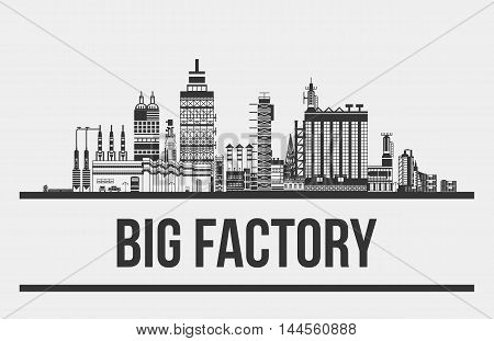 Big factory or plant, manufactory or works exterior. Outline of chimneys and cars, lamp and pipelines. Facade silhouette of assembly line. Can be used for pollution and standardization, technology theme