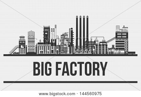 Outline of giant manufactory or plant, factory or assembling line with conveyors and balloons, trucks and chimneys, towers. Silhouette of buildings facade. Good for industrial production theme
