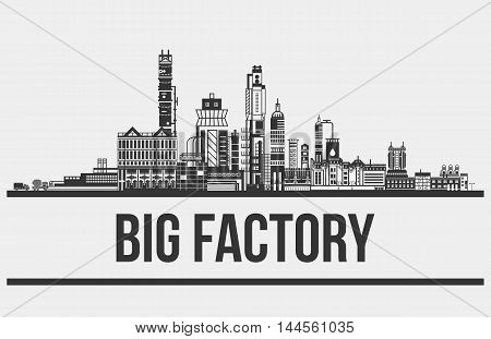 Contour of plant or factory, manufactory or works outdoor view. Silhouette of concrete works exterior with mixer and truck, chimneys and pipelines. Good for building or standardization themes