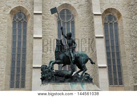Statue of Saint George in front of Reformed Church Cluj-Napoca city in Romania
