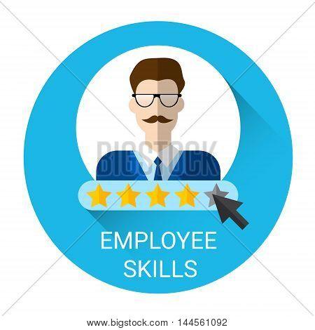 Business Employee Skills Evaluation Icon Flat Vector Illustration