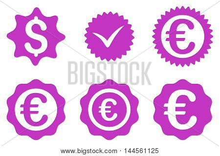 Banking Stamp vector icons. Pictogram style is violet flat icons with rounded angles on a white background.