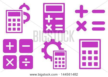 Calculator vector icons. Pictogram style is violet flat icons with rounded angles on a white background.