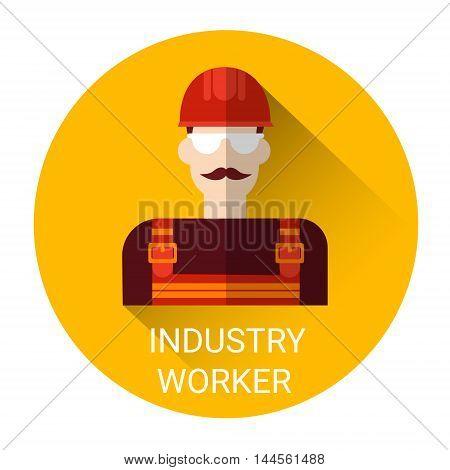 Industry Worker Man Icon Flat Vector Illustration
