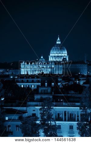 Vatican City St Peters Basilica at night.