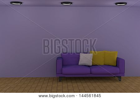 3D rendering of a purple living room with a sofa