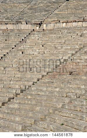 Attractions Greece Large ancient amphitheater of Epidaurus Peloponnese. UNESCO World Heritage.