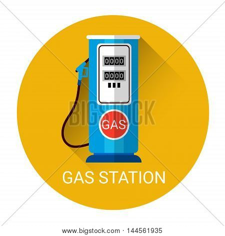 Gas Station Icon Colorful Flat Vector Illustration