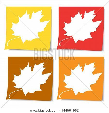 collection of colorful post it paper note on white background