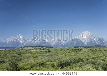 View of the Grand Tetons in Wyoming USA