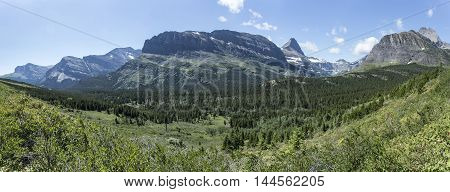 Panoramic View of Iceberg Lake Trail showing a mountain valley in Glacier National Park Montana United States.