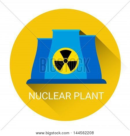 Nuclear Power Plant Icon Flat Vector Illustration